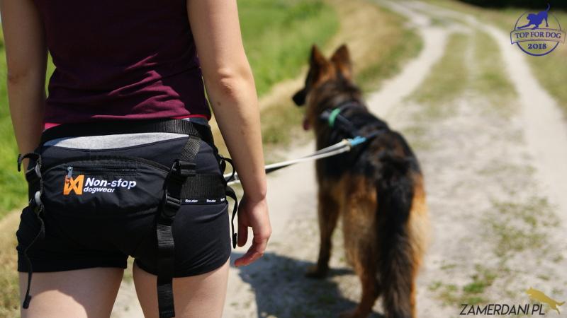 Modelka prezentuje pas do biegania Non-Stop Dogwear. W oddali podpięty do smyczy stoi Owczarek niemiecki.